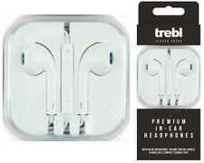 Trebl en Blanco Premium De Oreja Auriculares Audífonos Micrófono De Control De Volumen Iphone