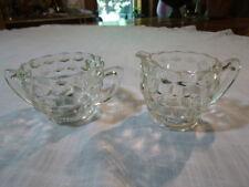 Vintage Jeannette Glass Cubist Clear Depression Glass Creamer and Sugar Bowl