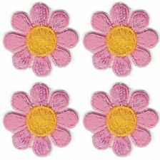 Lot 4 Spring Pink Yellow Daisy Flower Embroidery Patch