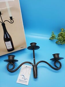 Triple Wine Bottle Candelabra Metal Stopper Holds 3 Candles Great Hostess Gift