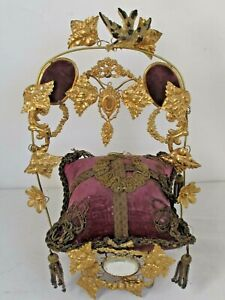 Antique Victorian Gilt French Wedding Stand with Great Pillow 1800's