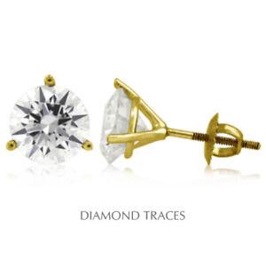 3/4 Carat H VS1 Round Cut Earth Mined Certified Diamonds 14k Gold Stud Earrings