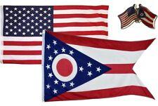 Wholesale Combo Usa & State of Ohio 3x5 3'x5' Flag & Friendship Lapel Pin