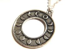 MOON PHASE RING NECKLACE amulet pendant medallion silver crescent goddess Q1