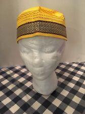 Men's Islamic Kufi Topi Golden Rigid Kofi Cap Muslim Salah 22 Inches Size