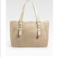 COLE HAAN Kendra, Highline Straw Almond Beige Patent Leather Tote Bag Purse NEW