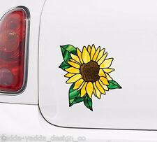 "CLR:CAR - Sunflower D2 Stained Glass Style CAR Vinyl Decal ©YYDC(5.5""Wx6""H)"