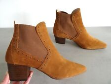 ZARA TAN SUEDE LEATHER MID-HEEL ANKLE BOOTS WITH STUDS SIZE UK 4 EU 37 USA 6,5
