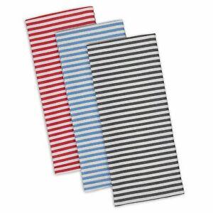 Design Imports PARIS PETITE STRIPE Cotton Dish Towels Set of 3 Red, Blue, Black