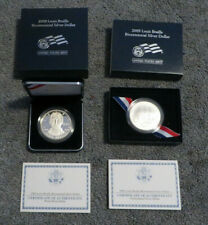 2009 LOUIS BRAILLE BICENTENNIAL PROOF & UNC. SILVER DOLLARS * 2 SILVER COINS *