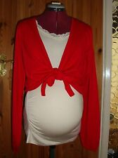 BNWT Ladies MATERNITY Red Long Sleeved Front Tie Short Cardigan Size M - 12-14