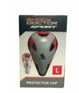 NEW SHOCK DOCTOR CUP FOR SPORTS GRAY RED PROTECTIVE SIZE L 15+ YO FOOTBALL