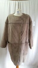 H&M Sheepskin Style Beige Leather Outer Long Sleeved Collarless Wrap Coat Size 6