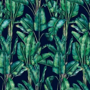TROPICAL VELVET navy blue green jungle leaves PARADISE dressmaking cushions