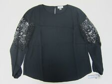 Tahari Women's Lace-Panel Georgette Blouse Large Black  NWT