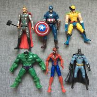 6pcs Marvel Avengers Super Hero Hulk Captain Batman Thor Action Figures Toy Gift