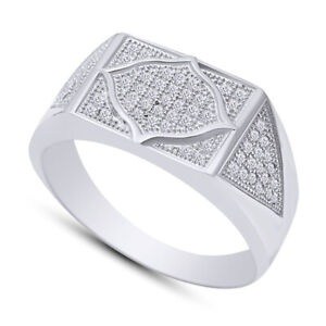 Mens Round Cut Simulated Diamond Micro Pave Wedding Band Ring in Sterling Silver