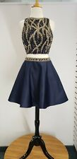 Blush Prom Dress Party  Evening Short Formal Cocktail Two-piece Navy Gold Size 6