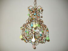 ~c 1920 French Pink Green Blue Yellow  Opaline Confetti Chandelier Petit RARE~