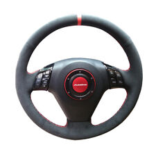 Black Suede Leather Steering Wheel Red Stitch Wrap Cover For Honda Accord 03-07