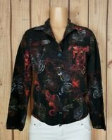 CHICOS Womens Size 1 Long Sleeve Shirt Button Down Floral Paisley Print Top