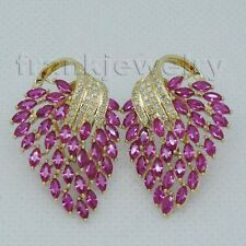 Jewelry Sets Vintage Solid 14Kt Yellow Gold Natural Diamonds Pink Ruby Earrings