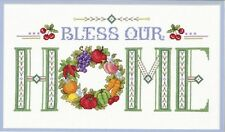 HTF Exclusive JCA BLESS OUR HOME (Fruit Wreath)  Counted Cross Stitch Kit