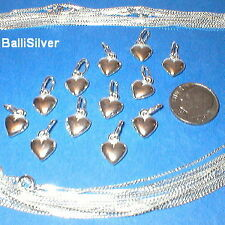 12 Sterling Silver Small HEART Charms + Box Chains Lot