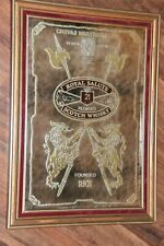 Vintage Royal Salute Scotch Whiskey Mirror Gold Red Chivas old Man Cave Bar Sign