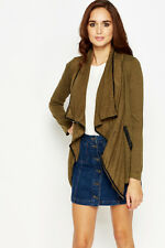 Womens Contrast Trim Waterfall Cardigan Khaki Size Small UK (8 - 10)
