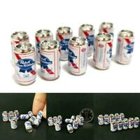 10Pcs/Set Beer Cans 1/12 Dollhouse Miniature Scene Cans Kid Beer Model Mini L4U0