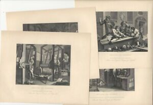 Plates 1-4 William Hogarth Industry & Idleness - Four 19th C. Steel Engravings