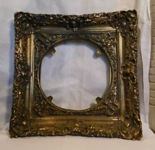 """Vintage Gold Ornate Floral Gesso Gilded Picture Frame 15.5"""" Square x 10"""" Circle"""