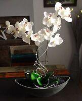 Neu Gesteck Orchidee Schiffchen anthrazit/weiß-creme Tisch-Deko Fensterschmuck