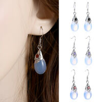 Silver Plated Droplets Moonstone Dangle Drop Earring Women Wedding Jewelry--