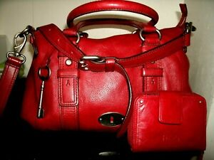 Fossil Maddox Lovely Large Rugged Red Leather Crossbody Satchel w/Fossil Wallet!