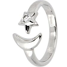 Sterling Silver 925 Cubic Zirconia Star And Moon Toe Ring