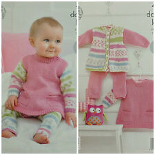 Knitting Pattern Baby Veste, Robe Avec Poches & Leggings DK King Cole 4203
