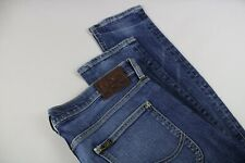 LEE LUKE Men's W34/L34 Stretchy Skinny Fade Effect Blue Zip Fly Jeans 19735-JS