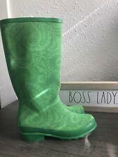 L.L. Bean Wellie Green Paisley Rubber Rain Garden Boots Size 6 NEW