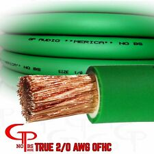 50 ft TRUE AWG 2/0 Gauge COPPER Power Wire GREEN Ground Cable GP Car Audio USA
