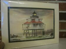 Harbour Lights Thomas Point, Maryland Matted Print By Mark Sherman-New