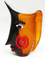 NEU Vasengefäß mit GESICHT GLAS VASE ca.32cm KISSING FACE - MURANO STIL GLASVASE