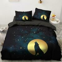 3D Night Starry Sky Moon Wolf KEP6225 Bed Pillowcases Quilt Duvet Cover Kay