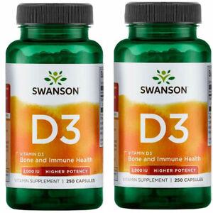 Swanson Vitamin D3 2000IU - 250 / 500 Capsules Bone and Immune Health Supplement