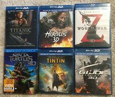 Lot 6 Blu-ray + DVD + 3D Hercules, Titanic, World War Z, Tintinn, G.I. Joe NEW