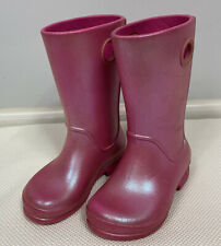 Crocs Rain Boots 10 Pink Shimmer Handle Tall Iradescent