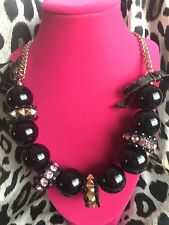 Betsey Johnson Vintage Black Lucite Ball Pyramid Spike Love Me Long Necklace