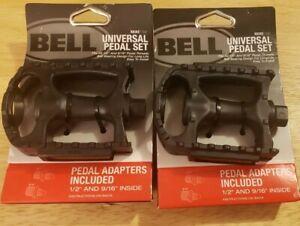 "2 Pairs Sets Bell Kicks 350 Universal Bike Pedal Set Fits 1/2""- 9/16"" Black"