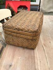 Vintage Wicker  Storage Chest Basket Box cottagecore